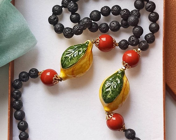 Black Lava stone necklace with Sicily Ceramic Lemons