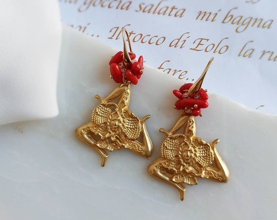 Baroque style trinacria earrings
