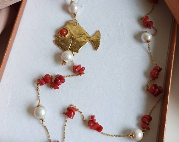 Gold chain necklace with Pearls, Red Corals and Brass fish