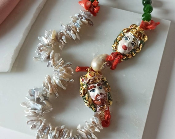 Sicilian necklace with Jade stones , Mother of Pearl and Sicily Ceramic heads
