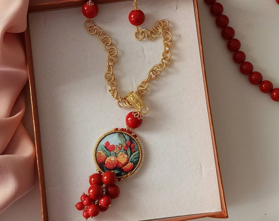 Long necklace with gold chain, Coral Paste stones and Sicily Ceramic tile