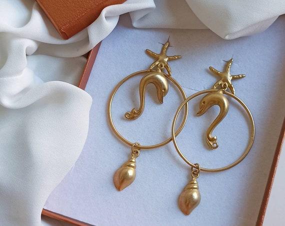Extra long Brass earrings