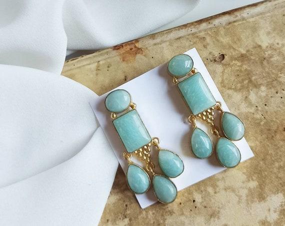 Aqua green chandelier earrings
