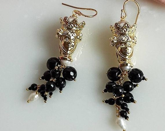 Black cluster Earrings with Sicily Moor Head