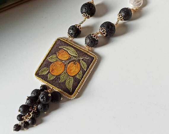 Sicilian Necklace with Lava stones and Sicily Ceramic tile