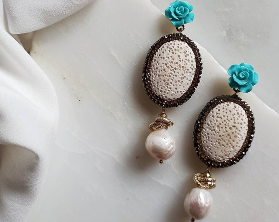 Bride earrings with white lava stones and Baroque Pearls