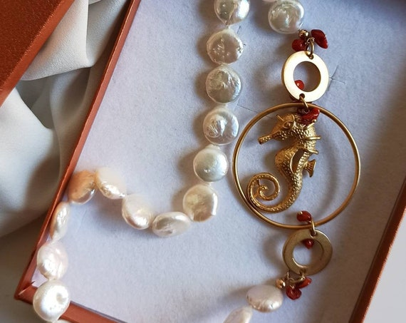 Long Necklace with flat Baroque Pearls and brass seahorse