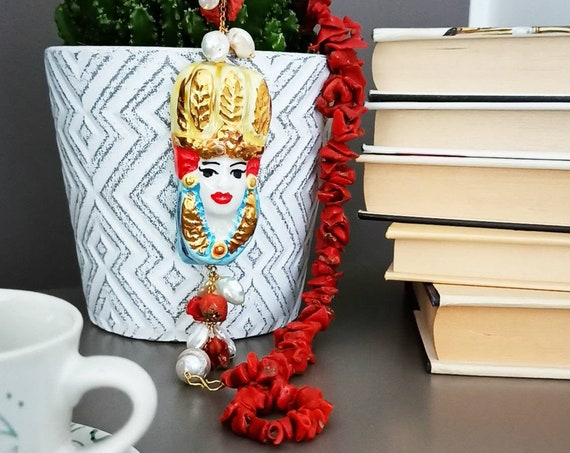 Red Coral necklace with Sicily Ceramic head