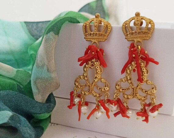 Chandelier Earrings with Red Coral Branches
