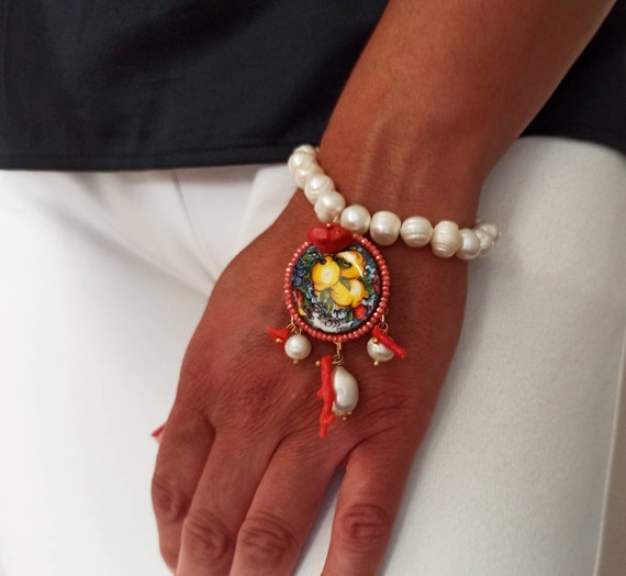 Pearl Bracelet with Sicily Ceramic tile