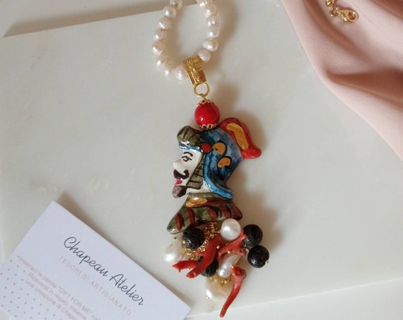 Pearl Necklace with Sicily Ceramic Head