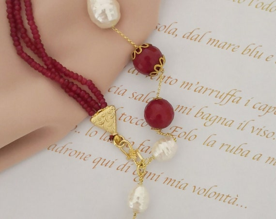Long chain necklace gemstones