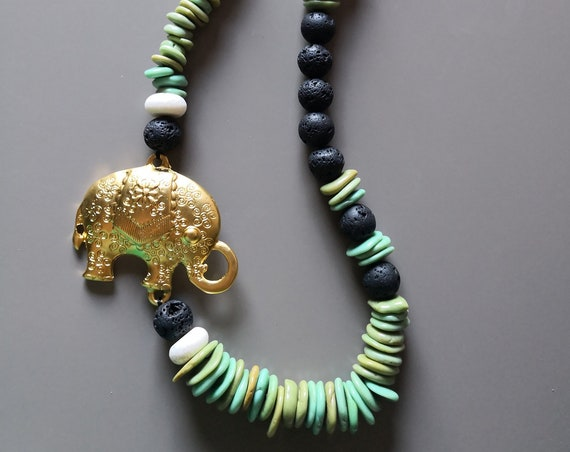 Ethnic necklace with natural stones and Elephant