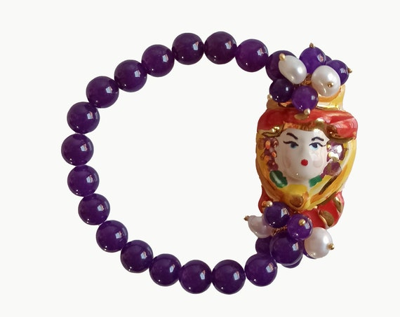 Purple stone bracelet with Sicily Ceramic head