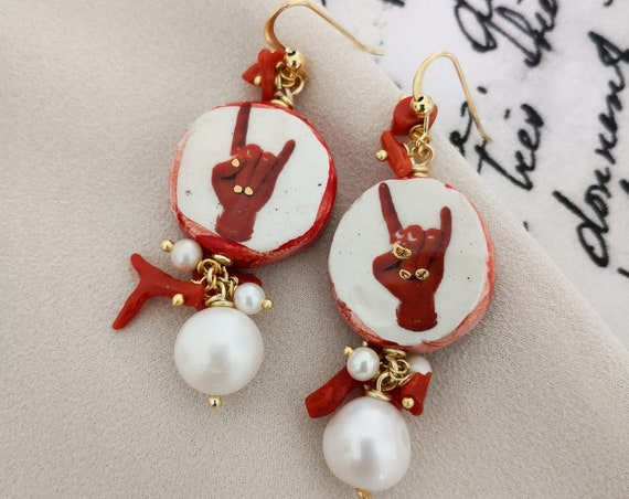 Baroque style tile earrings with Baroque Pearl drops