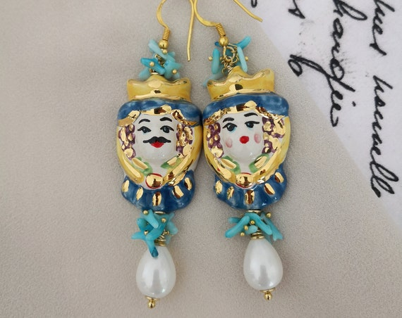 Baroque style sicilian earrings with Sicily Ceramic heads