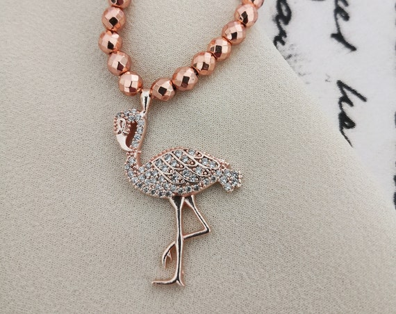 Rose gold Flamingo delicate necklace