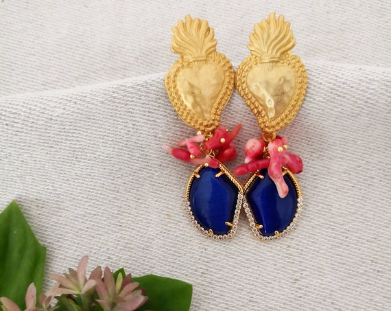 Baroque style cluster earrings with blue drop