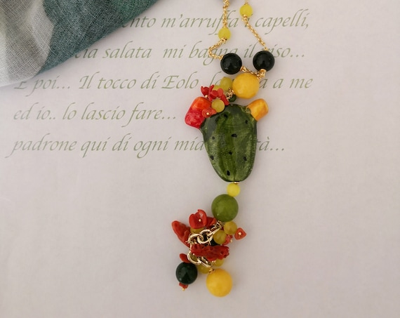 Long chain necklace with gemstones and Sicily Ceramic Prickly Pear