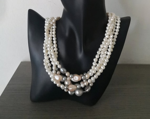 Multi strand necklace with Freshwater Pearls
