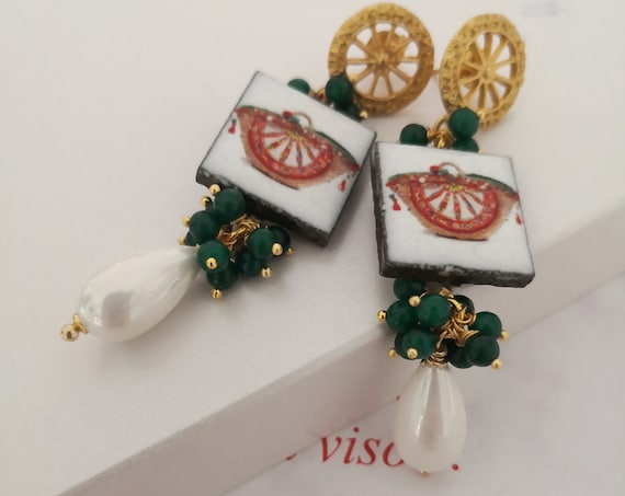 Baroque style tile earrings with Pearl drops