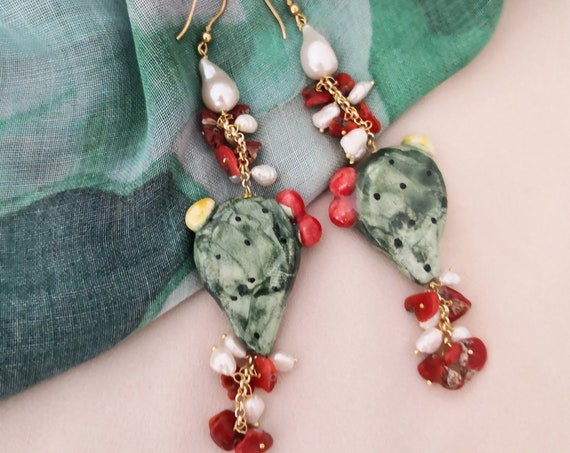 Cluster earrings with sicily ceramic prickly pear