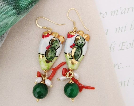 Baroque style Prickly Pear earrings