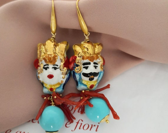 Baroque earrings with Sicily Ceramic heads and Turquoise stones