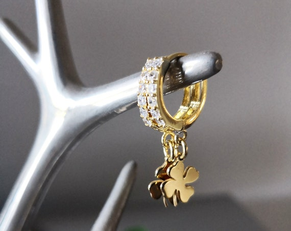 Tiny hoops with four leaf clover charms