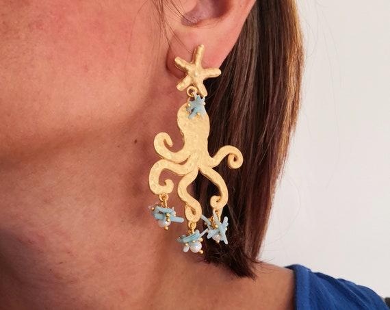 Octopus earrings gold