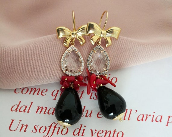 Drop earrings with Crystals and black Onyx