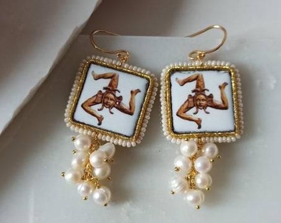 Baroque style tile earrings