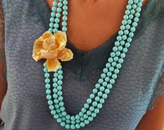 Three Strand Necklace with Turquoise Paste stones and Shell Flower