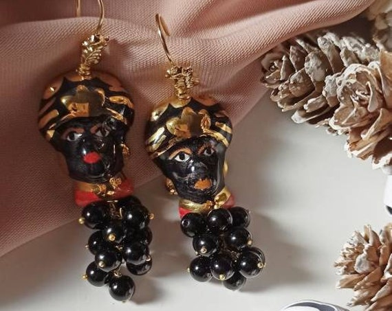 Sicilian earrings with Sicily Ceramic heads