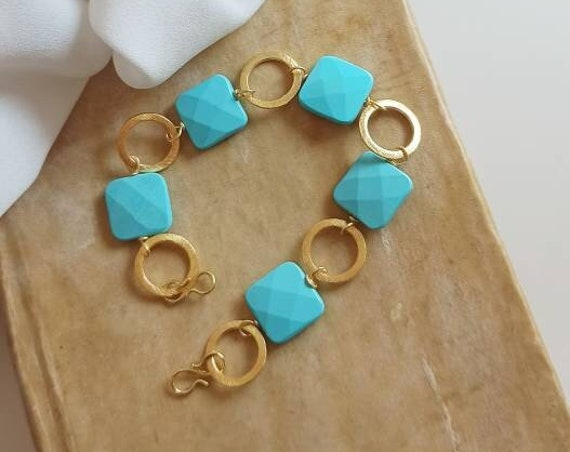 Chain and Turquoise stones Bracelet