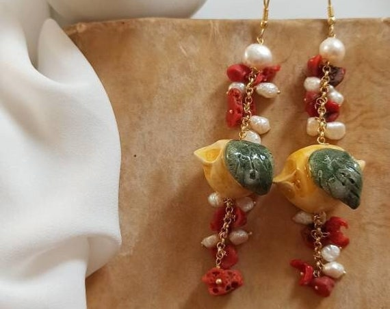 Sicilian Earrings with Ceramic Lemons and Baroque Pearls