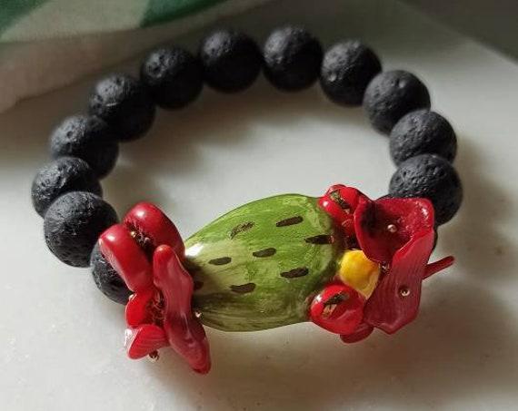 Lava rock bracelet with sicily ceramic prickly pear