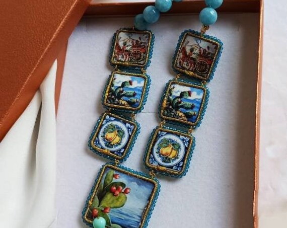 Light Blue stone necklace with Sicily Ceramic tiles