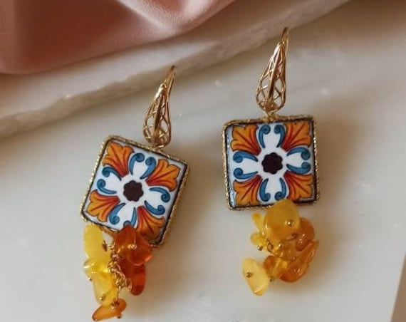Baroque style Tile Earrings with Amber chips
