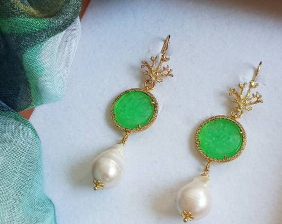 Coral branch earrings with green Jade stones and Baroque Pearl drops