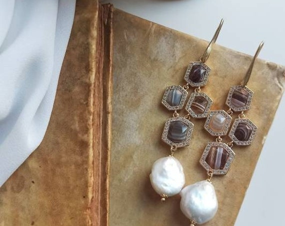 Long Earrings with striped stones and flat Baroque Pearls