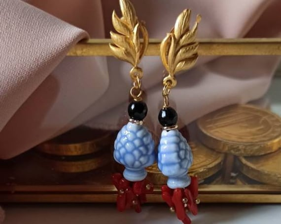 Baroque style earrings with Sicily ceramic Pine Cone
