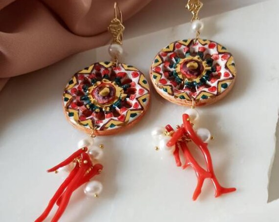 925 Baroque style Earrings with Sicily Ceramic Wheel and red Coral branches