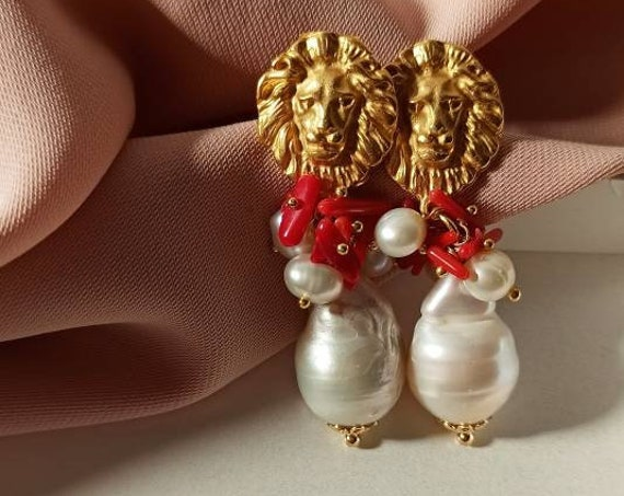 Baroque style red cluster earrings with baroque pearls