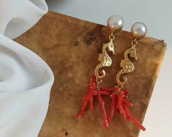 Statement earrings with Brass Seahorses and natural Coral branches