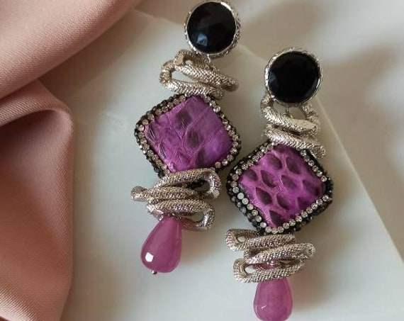 Handmade Earrings with faux Leather and purple drops