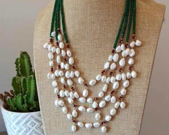 Large Chandelier Necklace with Freshwater Pearls
