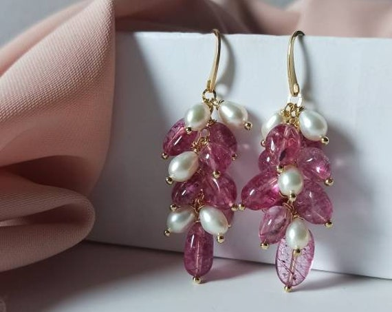 Rose Tourmaline Cluster Earrings