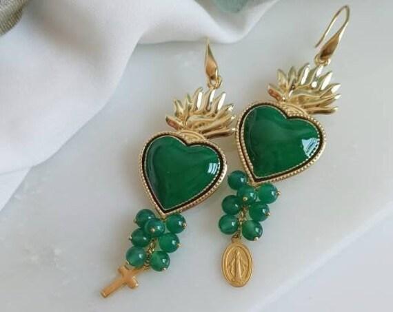 Sacred Heart earrings green