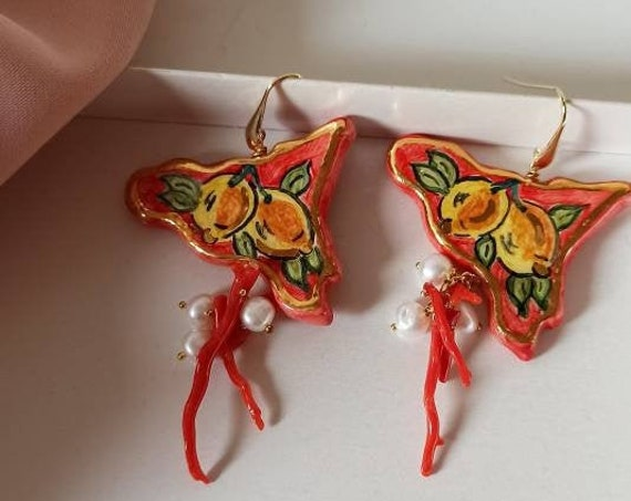 Baroque style Earrings with Sicily Ceramic and red Coral branches